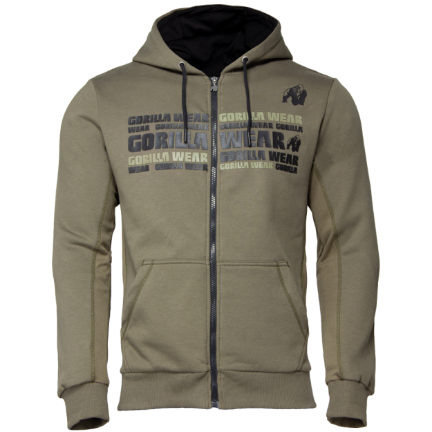Gorilla Wear Bowie Mesh Zipped Hoodie - Army Green