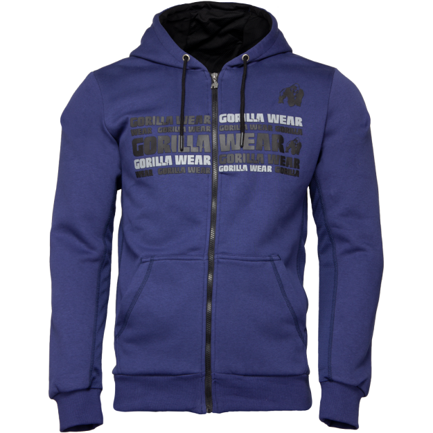 Gorilla Wear Bowie Mesh Zipped Hoodie - Navy Blue