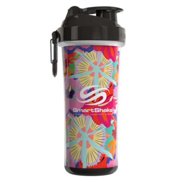Smart Shake Double Wall shaker cup Flower Power (Tropical Red)