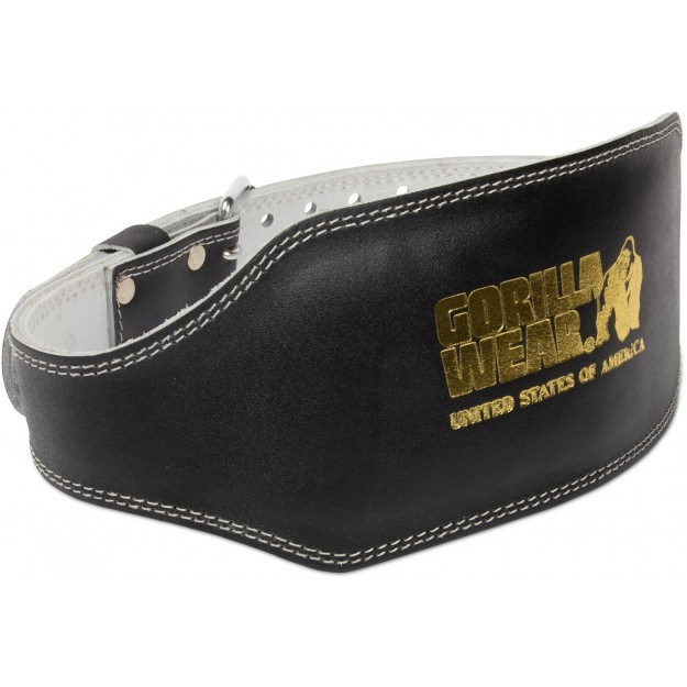 Gorilla Wear Full Leather Padded Belt - Black/Gold